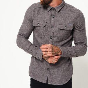 Superdry logger long sleeve shirt grey grit NWT